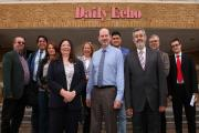 Romanian visitors  with Chief editor, Ian Murray at the Daily Echo Office..20/5/15. (26607867)