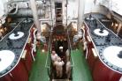 Inside SS Shieldhall's steam engine room.