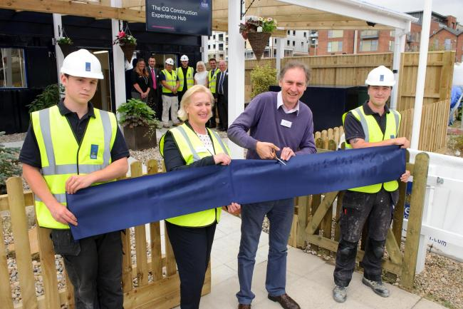 Apprentice Jack Lewis, Debbie Alpin of Crest Nicholson, Leader of Southampton City Council Simon Letts and another apprentice, Callum Boreland, opening the new hub in Town Quay. Picture Allan Hutchings.