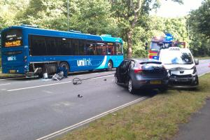 Key Southampton road shut after crash involving bus and taxi