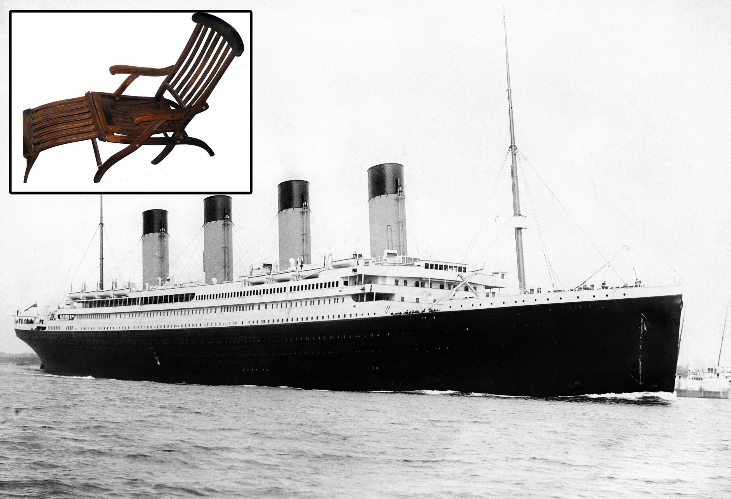 Inset: deck chair from the Titanic's sister ship Olympic.