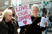 Friends of Cobbett Road Library in a protest against proposed library closures
