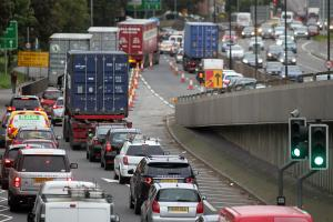 Road repairs after diesel spill causes traffic chaos