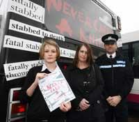 CAMPAIGN LAUNCH: Poster designer Lily Golden; Jeanette Singleton, Lewis' mum; and Chief Insp Andy Bottomley.