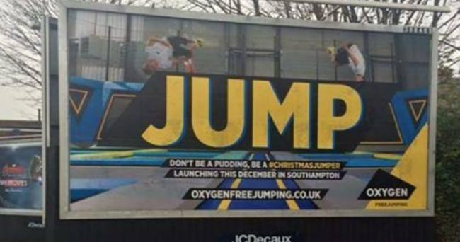 The Jump billboard from Oxygen Freejumping in Woolston.