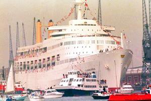 LAST VISIT: P&O's Canberra arriving in Southampton for the last time in 1997