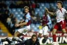 NEAR MISS: James Beattie fails to connect as the ball flashes across the Villa goal. Echo picture by Paul Collins
