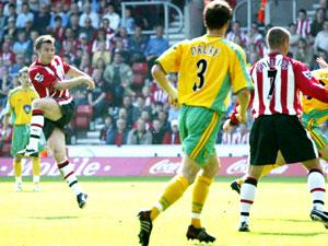 WORTH THE WAIT: Graeme Le Saux hammers in his first ever Premiership goal for Saints. Echo picture by Paul Collins