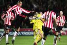 SHOT IN THE DARK: Jermaine Wright gets in a shot for Saints against Preston at St Mary's last night.