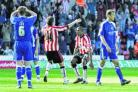 OFF THE MARK: Ricardo Fuller gets ready to celebrate his first Saints goal at St Mary's ...