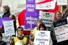 PROTEST: Care workers protest over cuts.