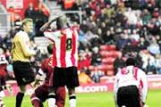 FRUSTRATION: Bradley Wright-Phillips can't believe it as another Saints chance goes begging.