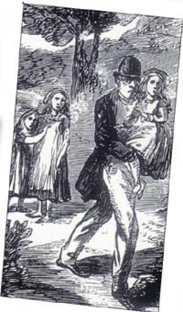Daily Echo: ABDUCTION: A drawing from Illustrated Police News showing Frederick Baker carrying Fanny away from her sister Elizabeth and their friend Millie.