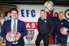 Jamie Bray is pictured (left)with Eastleigh FC secretary Ray Murphy (centre) and Hampshire FA's Martina Heath and Michael Conway