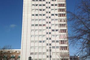 Fire fighters tackle blaze in tower block