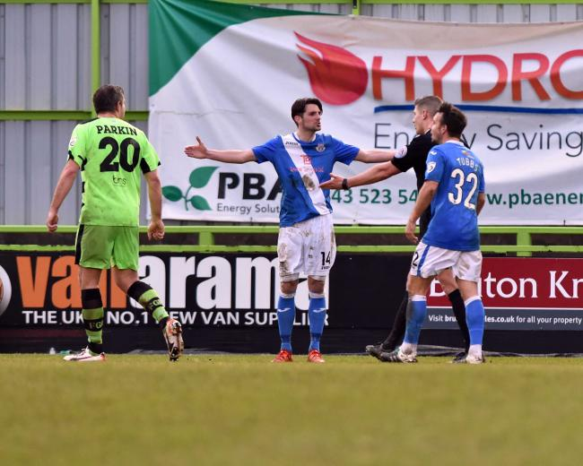 Ben Strevens is sent off at Forest Green. Picture: Bruce Fenn