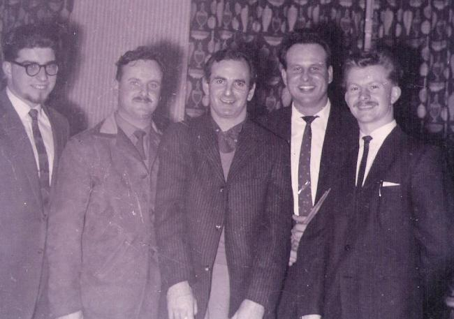Picture taken in 1959 of Gordon Ricketts (far left) Ronnie Scott (third from left) and Cole Mathieson (far right)