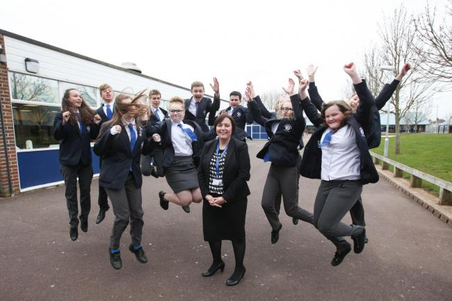 Youngsters at the school celebrate its good report