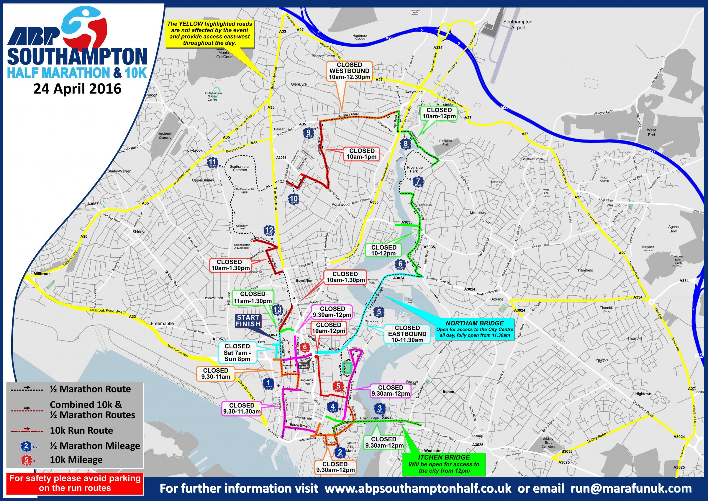 Map of running routes and road closures for ABP Southampton Half