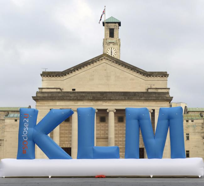 klm giant blue letters outside southampton guildhall