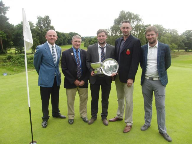 From left: Chris Tyrrell (Captain, PGA in Hampshire), John Moore (President, Hampshire Golf), Ben Lobacz, Mark Burgess and Sam Parsons. Photo courtesy of Steve Clay Images