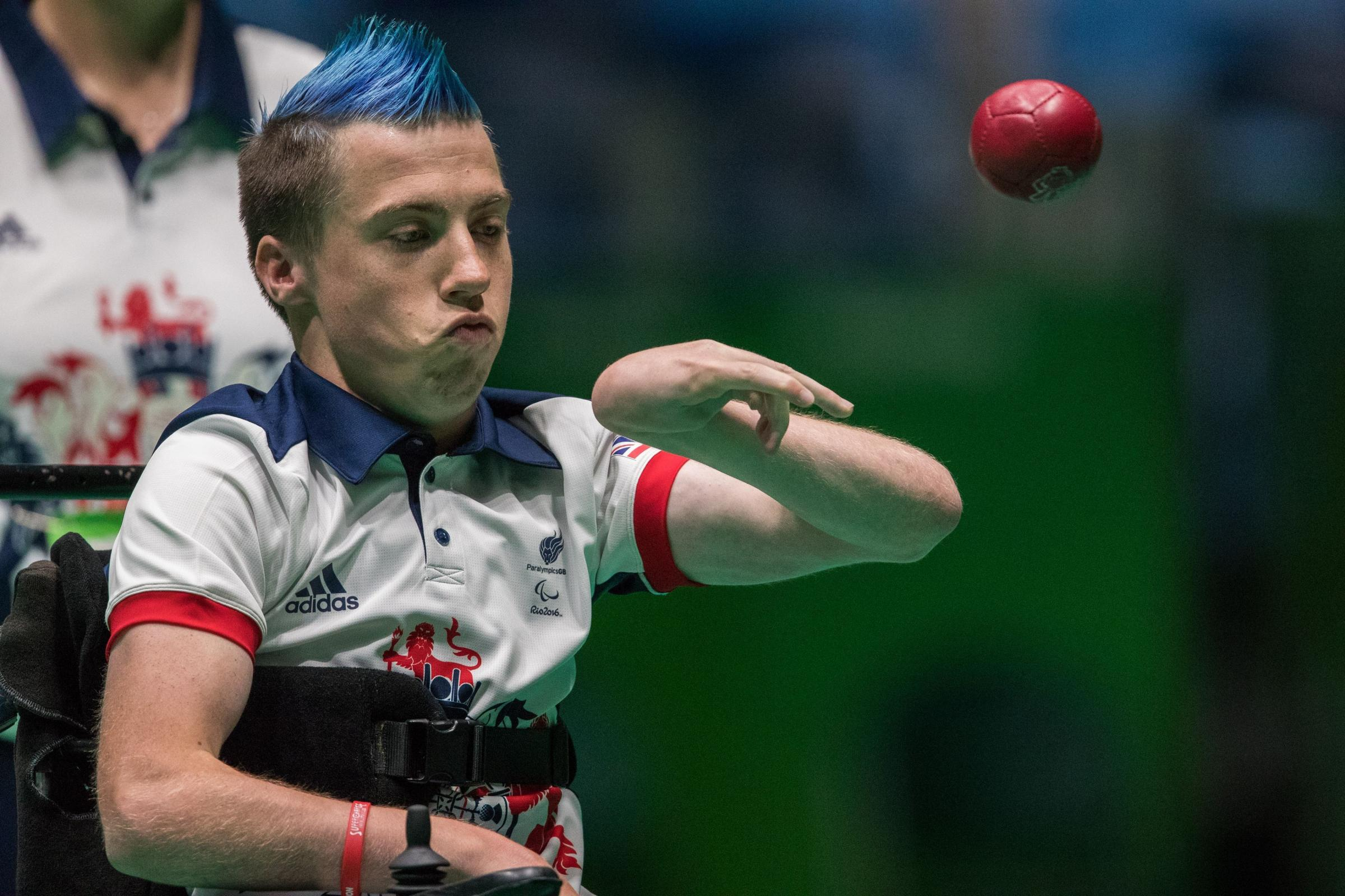 GB's David Smith in action against Netherland's Daniel Perez in the Mixed Individual - BC1 Gold Medal Match. Boccia in the Carioca Arena 2 during the ninth day of the 2016 Rio Paralympic Games in Rio de Janeiro, Brazil. PRESS ASSOCIATION Photo.