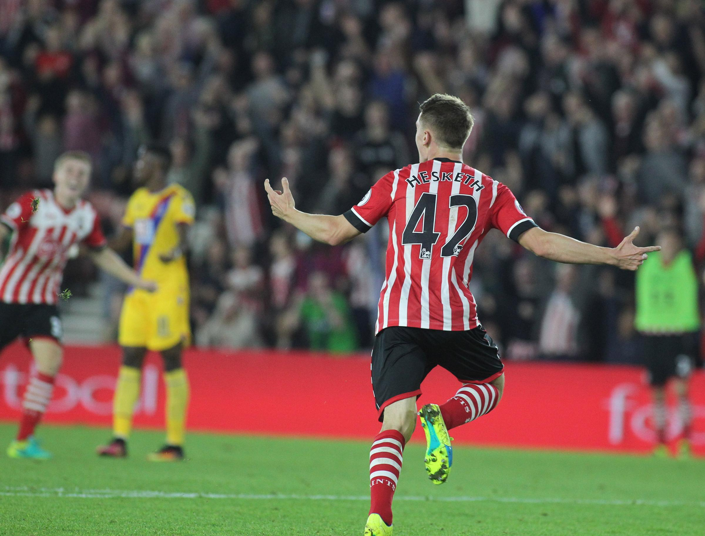 Jake Hesketh celebrates his goal for Saints