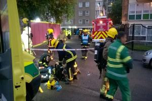Emergency services at the scene (pic: South Central Ambulance Service)