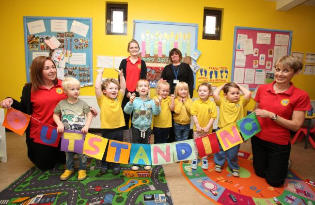 Footprints Pre-School celebrate their outstanding Ofsted report