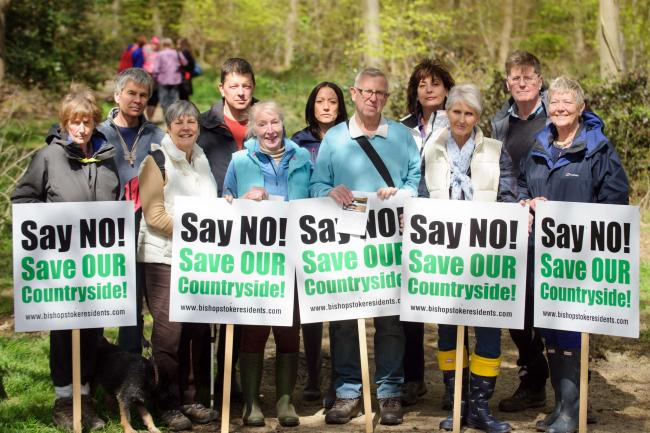 Campaigners at Stoke Park Woods, Bishopstoke, earlier this year