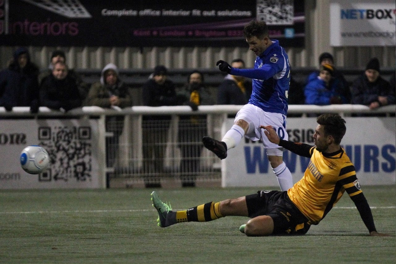 Jamie Cureton in action at Maidstone on Tuesday night (Pic James Chance)