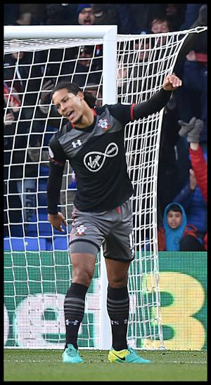 Daily Echo: Virgil van Dijk punches the air in frustration during Saints' Premier League match  against Crystal Palace at Selhurst Park. Click here for pictures and more.