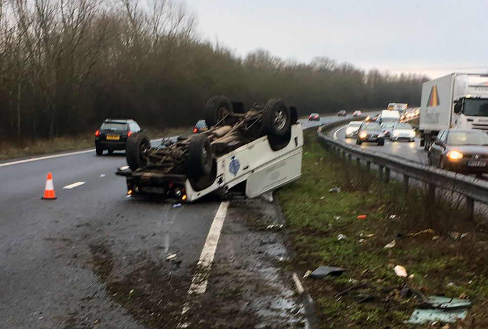 Vehicle hits central reservation and flips on Hampshire dual carriageway