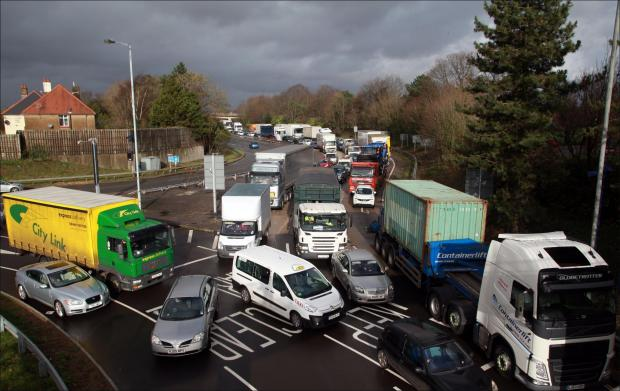 Daily Echo: Heavy traffic on the M271 at the Redbridge roundabout leading to roadworks on Millbrook Road. Thursday 16th January 2014..