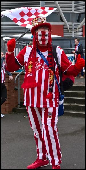 Daily Echo: Saints fans wore their red and white stripes with pride - including Pete here. Click here to relive the thrilling League Cup final.