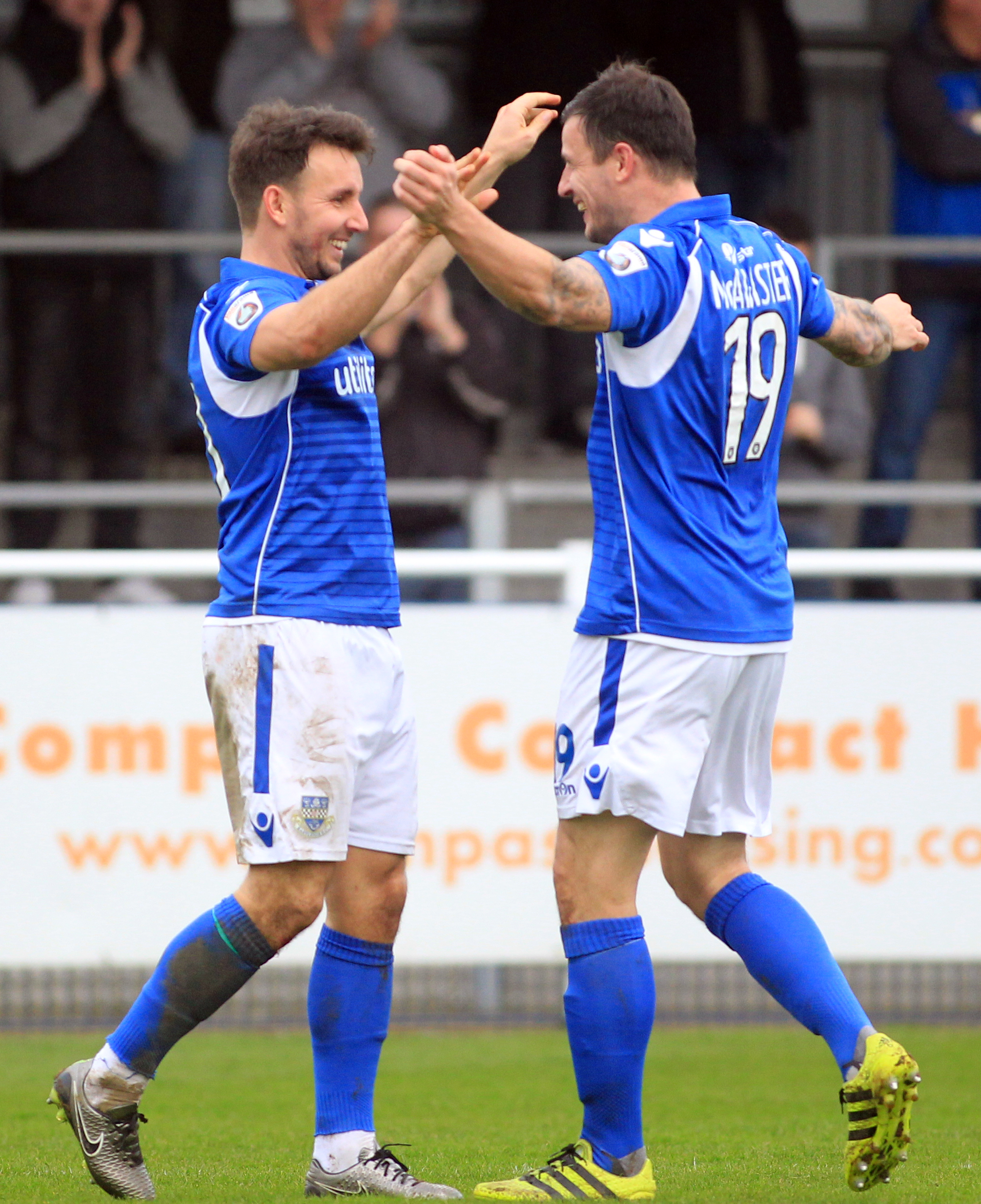 McAllister (right) and Tubbs celebrate an Eastleigh goal