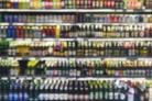 Supermarket shelf defocus background