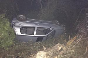 FOUR people had a lucky escape when a car left the road and struck a tree. PHOTO: Hampshire Roads Policing