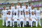 Back (l-r): Lewis McManus, Asher Hart, Brad Taylor, Will Smith. Middle: Brad Wheal, Rilee Rossouw, Ryan Stevenson, Reece Topley, Chris Wood, Gareth Berg, Liam Dawson. Front: Kyle Abbott, Michael Carberry, James Vince, Jimmy Adams, Sean Ervine