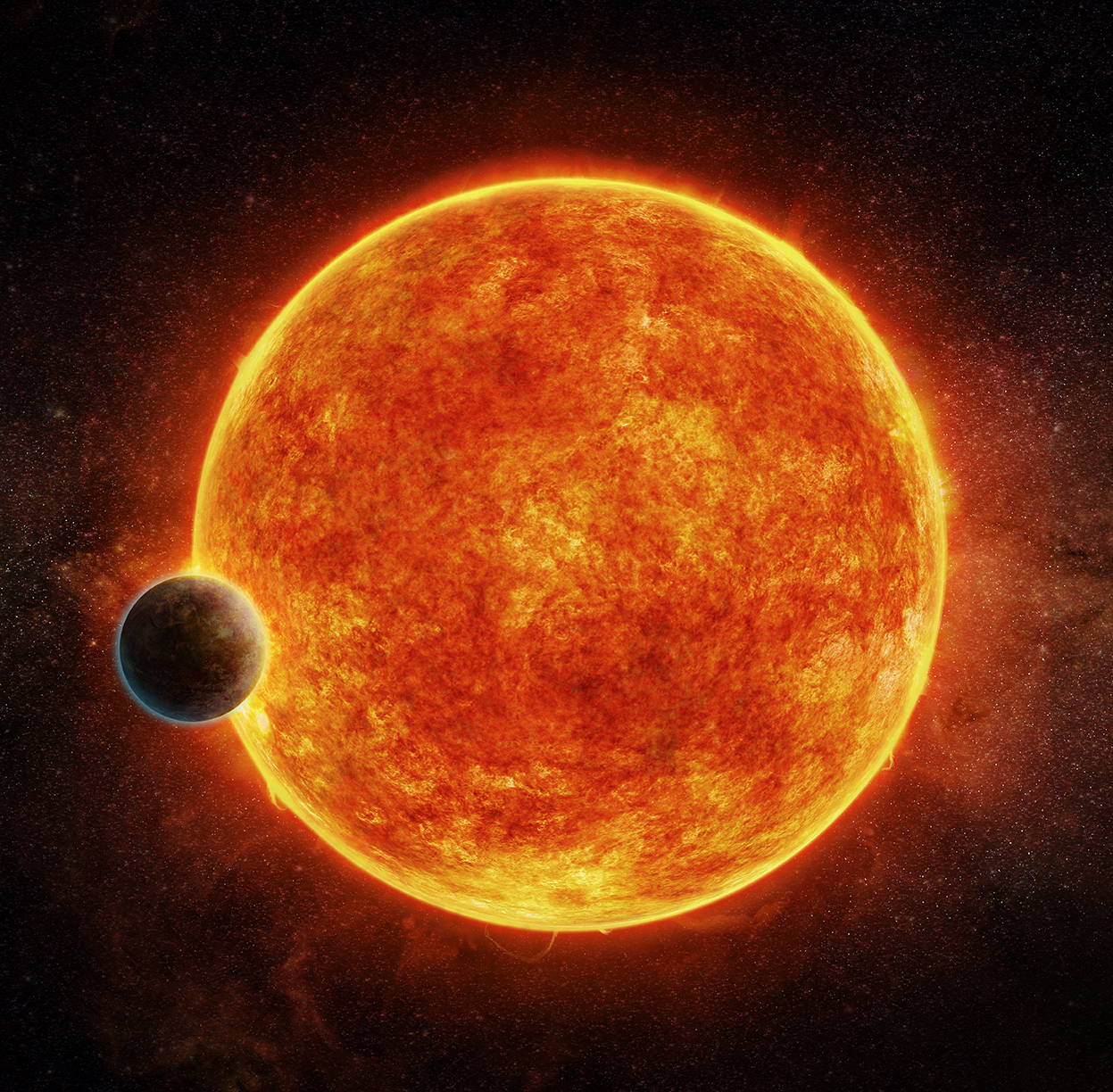 Embargoed to 1800 Wednesday April 19Undated handout artist   s impression of the newly discovered super-Earth passing in front of its host star. The planet could be the best candidate yet for a world beyond the solar system that harbours life, say scienti