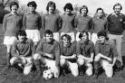 PIRELLI GENERAL FC. Back row: (left to right), R. Smith, J)  Diver, E. Hart, Freemant!e, M. Harris, T. B. Clarke, Front row: N. House, R. Morey, G. Blake, l. McCann, R. Beech. April 11, 1981.