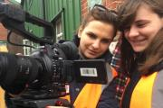 Students at Solent University filming at The Watercress Line