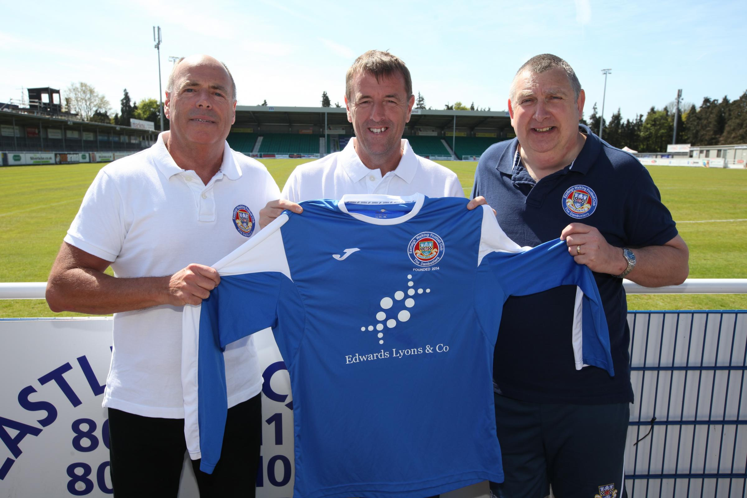 Ray Murphy (right) with Matt Le Tissier and walking football captain Paul Fruin (left)