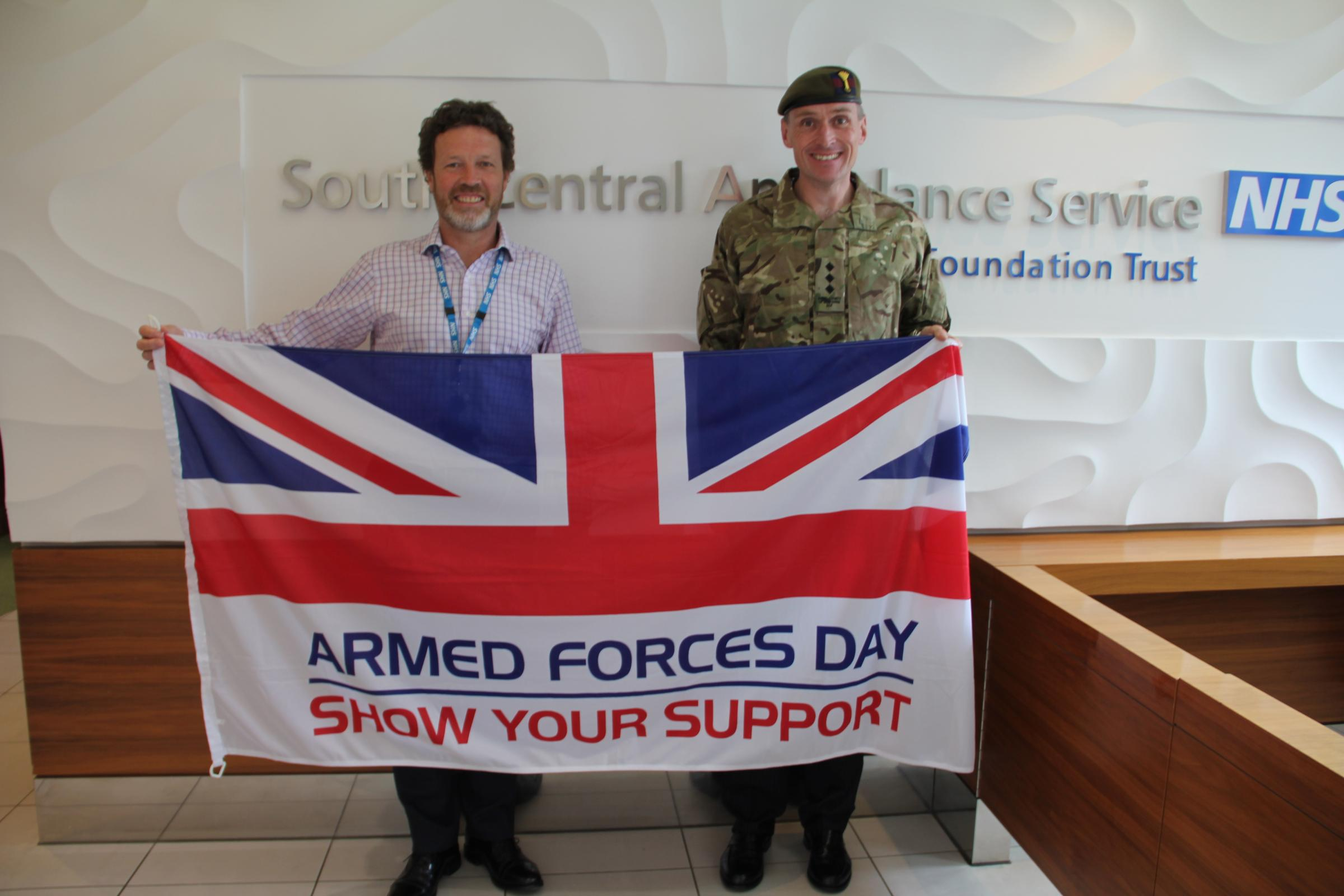 From left, SCAS Philip Astle, chief operating officer; with Paul Jefferies, assistant director of operations.