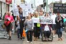 Photo Stuart Martin - Campaigners protest on the streets of Shirley against the closure of Kentish Road Respite Centre.