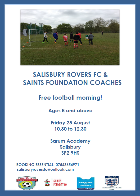 FREE football festival with Salisbury Rovers and Saints Foundation coaches