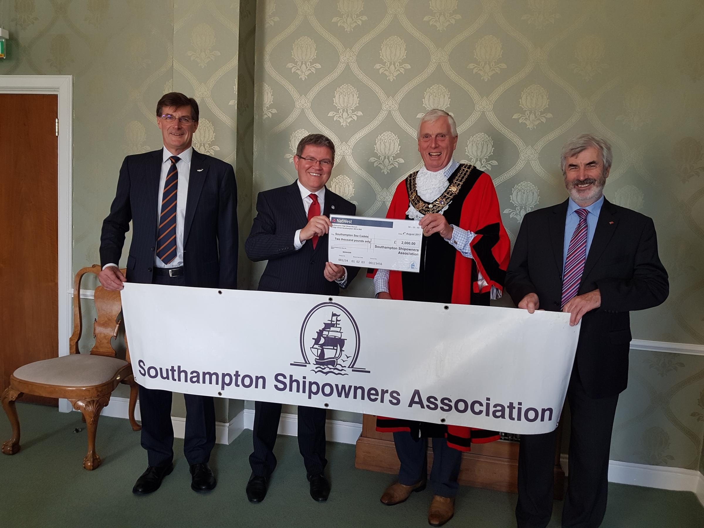 The photo (above) shows a cheque for £2,000 being presented to the Mayor of Southampton, Councillor Les Harris and Captain Andrew Moll of the Sea Cadets, in the presence of Captain Martin Phipps, ABP Southampton Harbour Master and President of the Southa