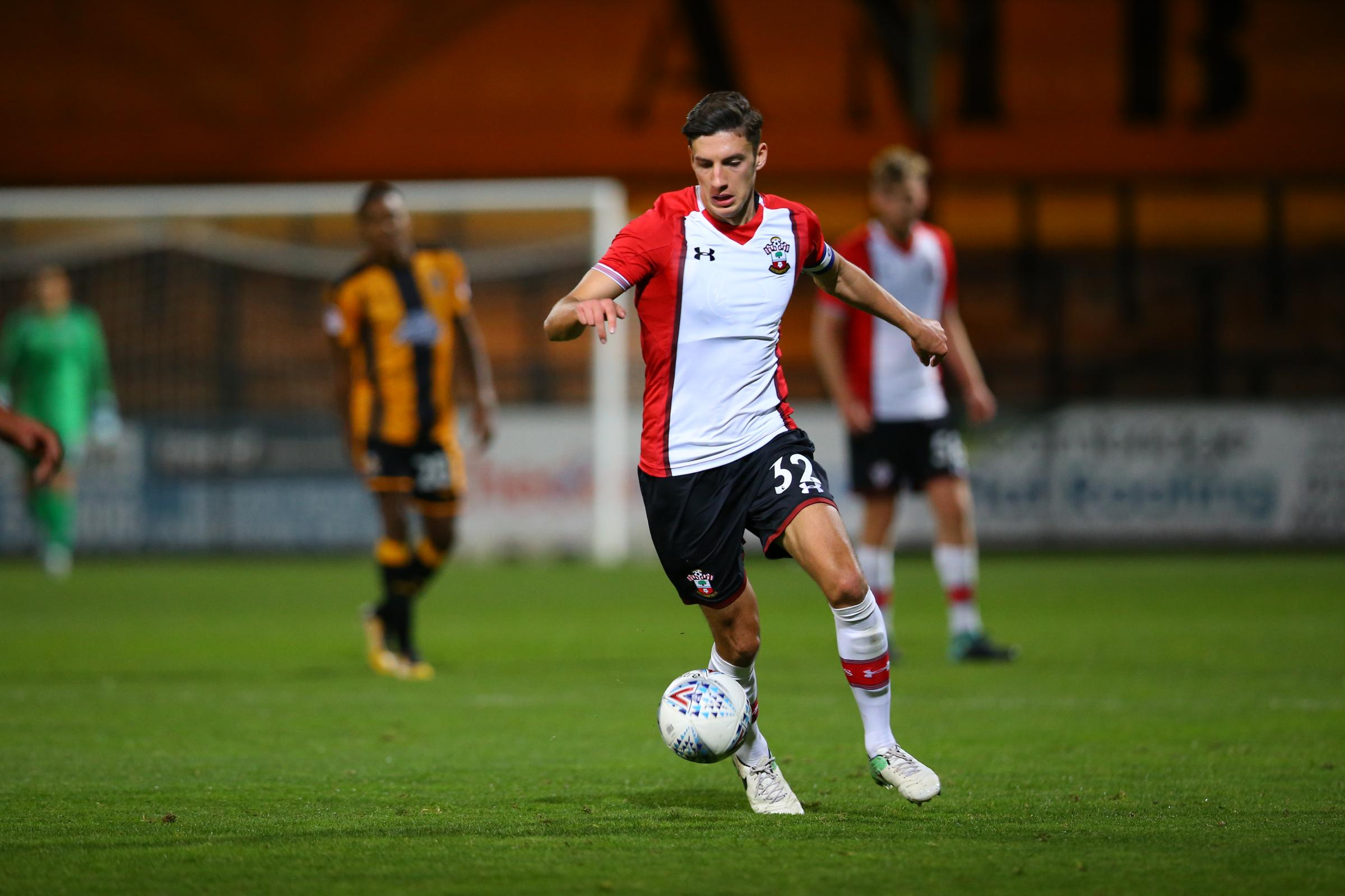 Alfie Jones in Saints under-21s action in the Checkatrade Trophy. Picture: Southampton Football Club