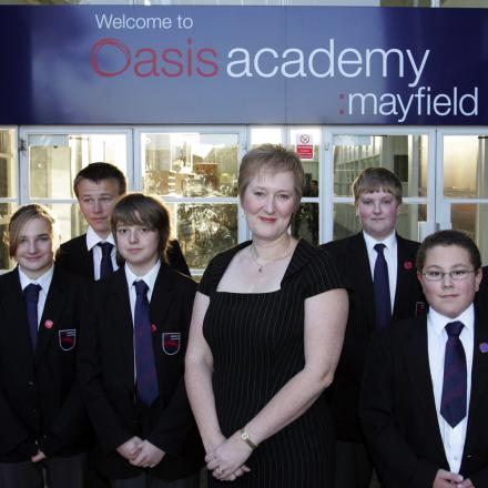 Ruth Johnson and pupils at Oasis Academy