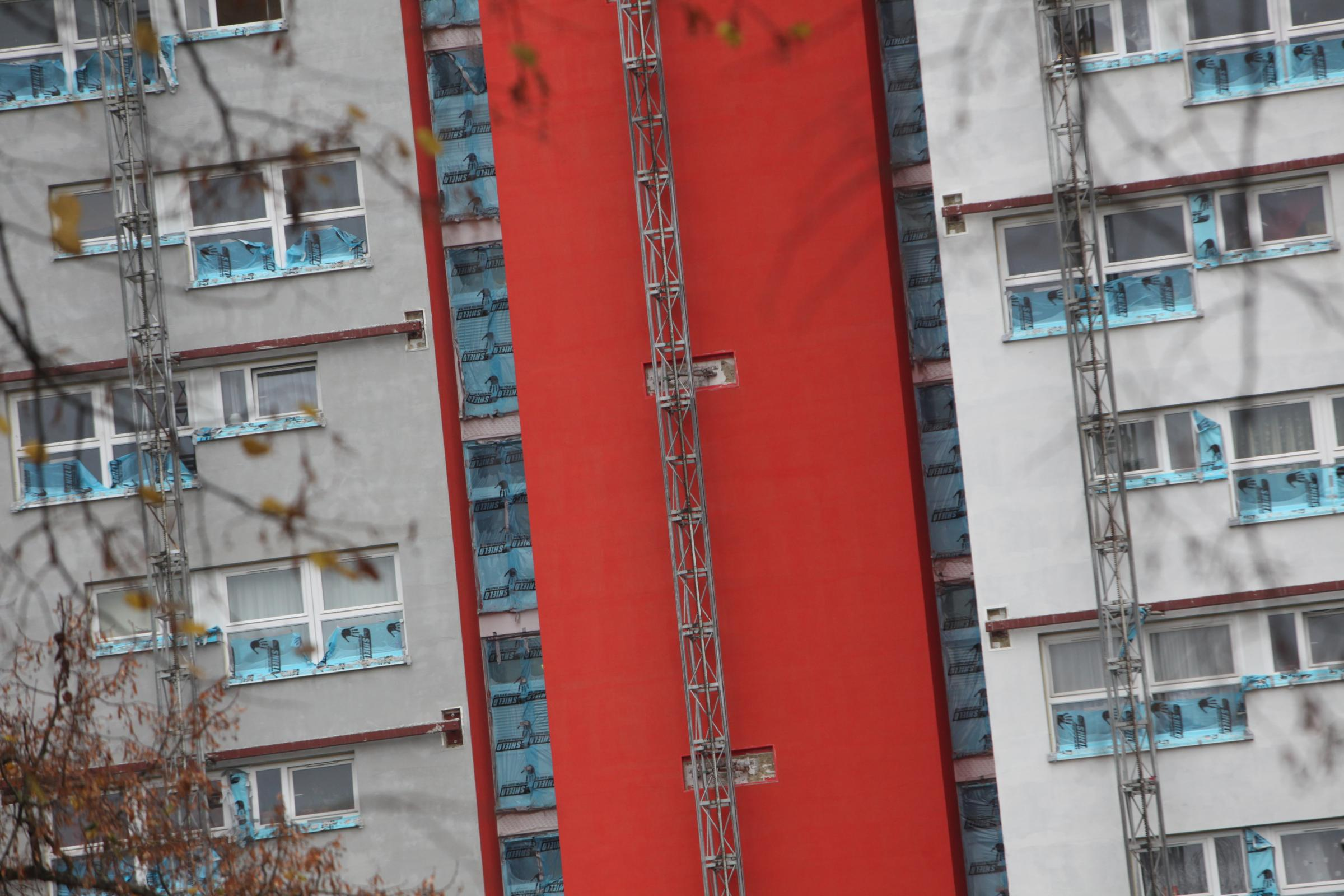 PHOTOS Tower block painted in Saints iconic colours